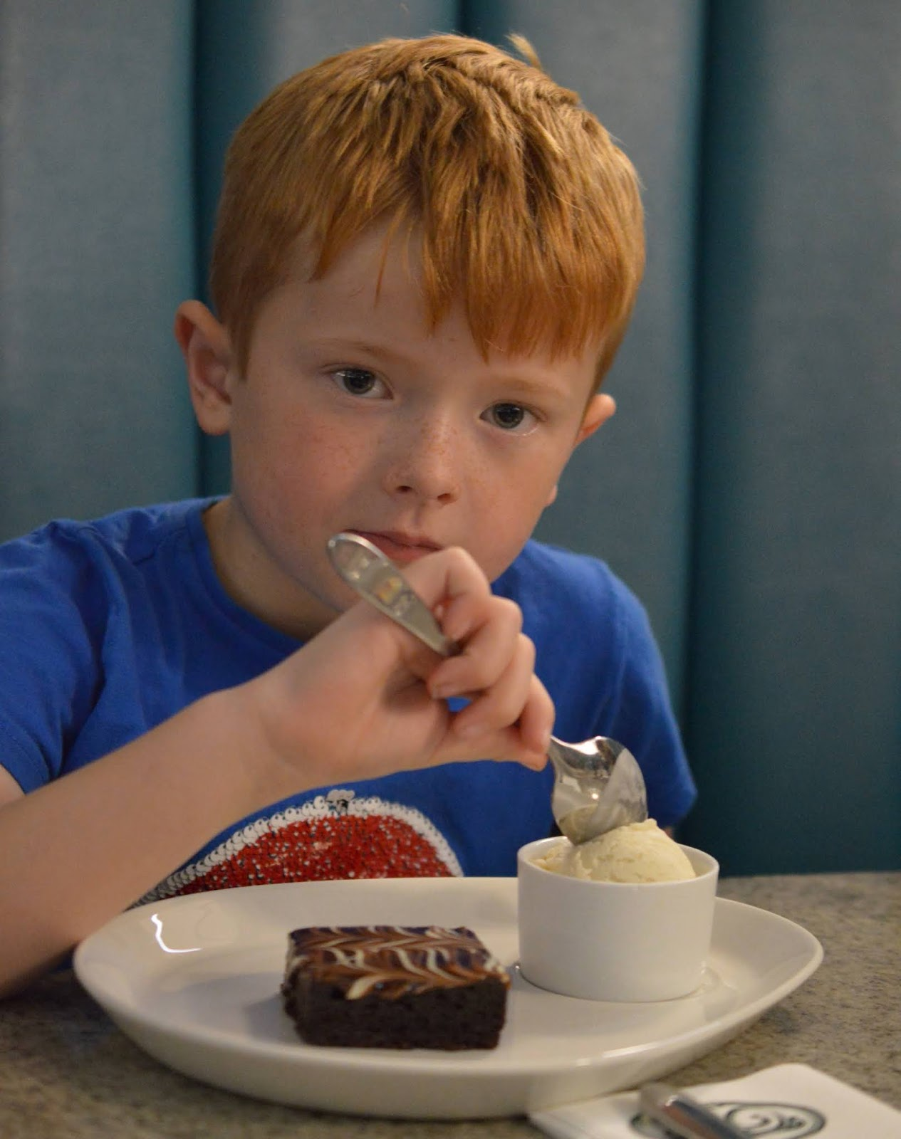 Fish and Chips with Kids at Trenchers, Spanish City - A Review - children's chocolate brownie