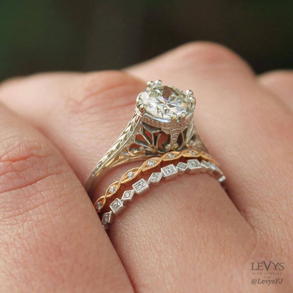 fe067f97a04 5 simple tips to pair vintage-style engagement rings with modern wedding  bands.