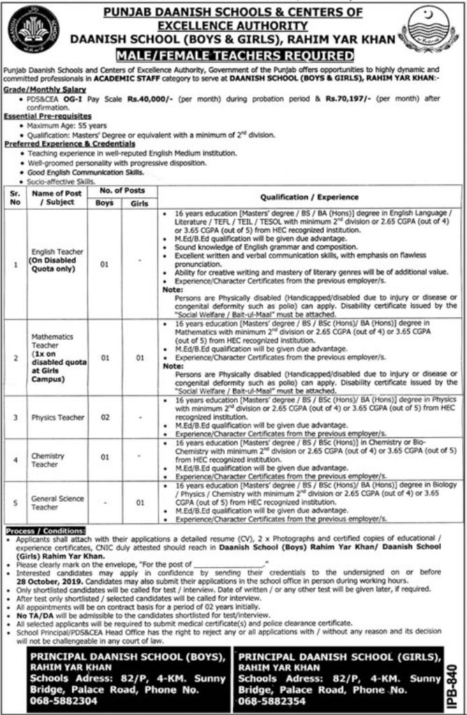 Punjab Daanish School Rahim Yar Khan Jobs 2019 For Teaching Jobs