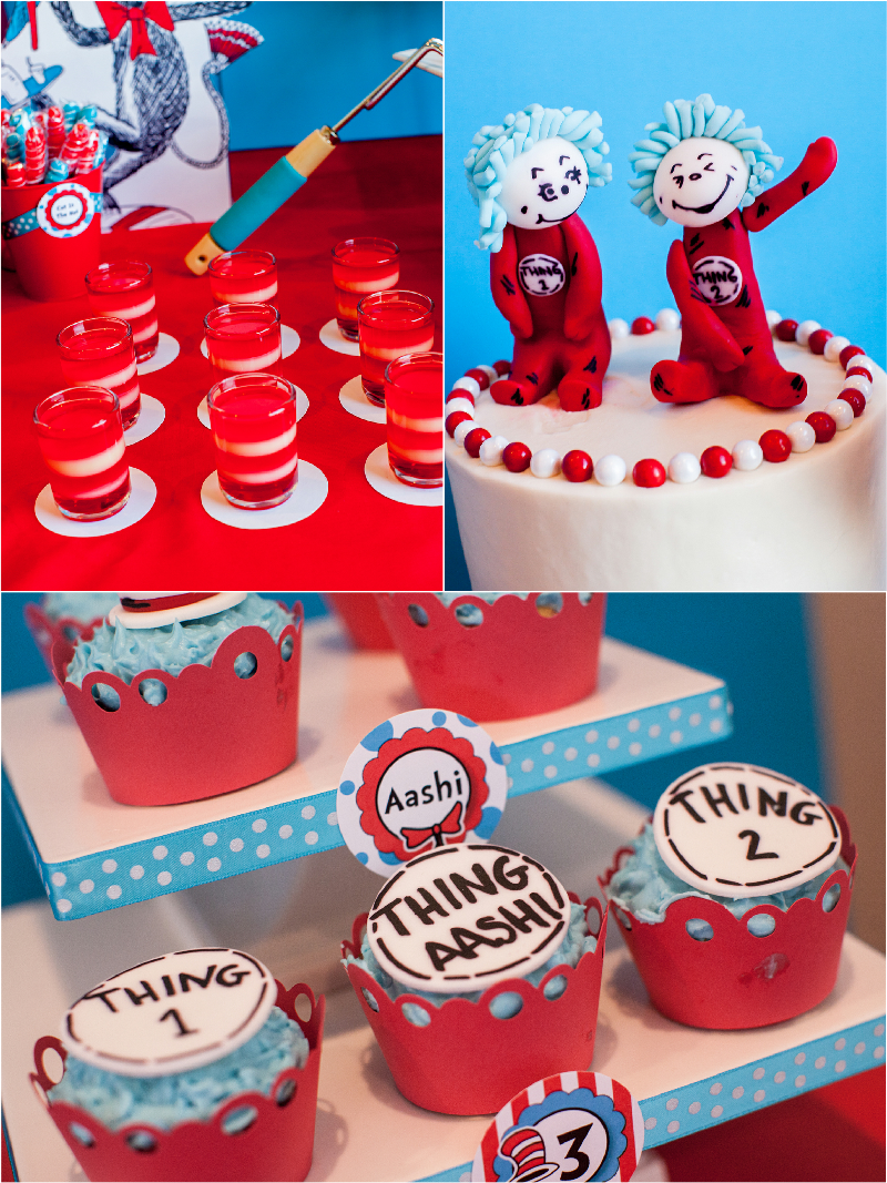 Cat In The Hat Inspired Birthday Party Desserts Table Ideas