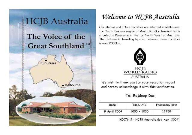 HCJB Australia Vintage QSL