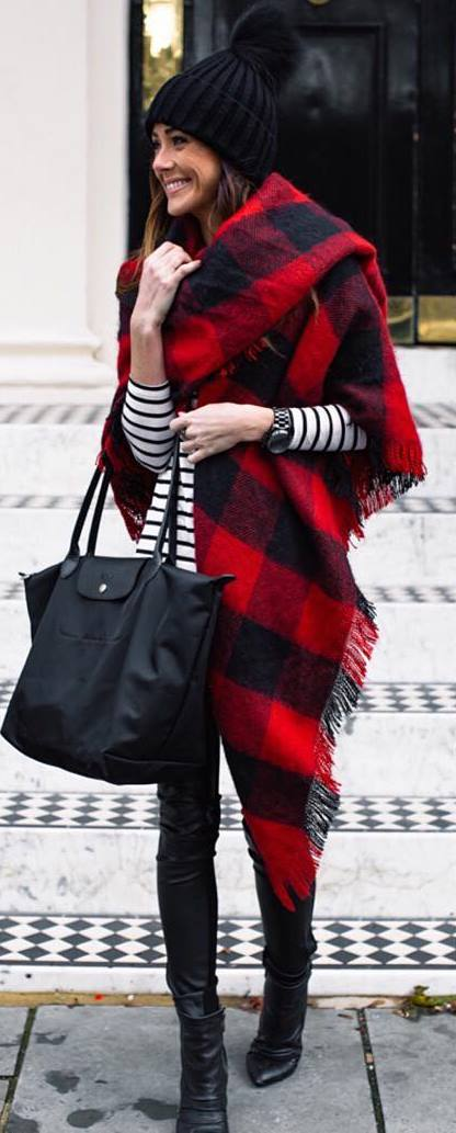 cool outfit idea / bag + stripped top + plaid scarf + skinnies + boots + knit hat