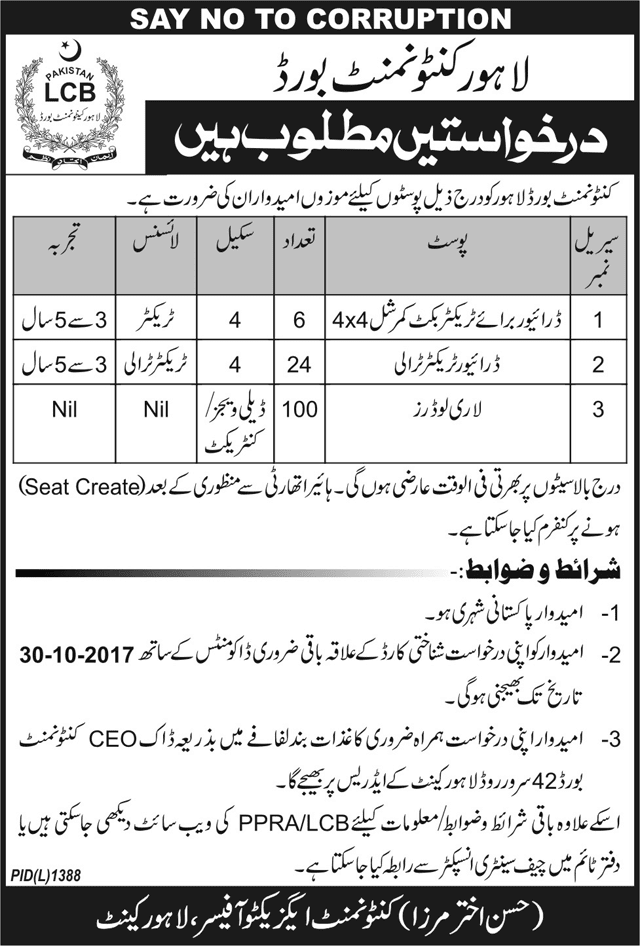 Jobs in Lahore Cantonment Board  October 2017.