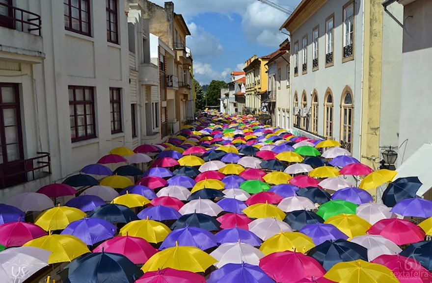 Hundreds of Umbrellas Once Again Float Above The Streets in Portugal