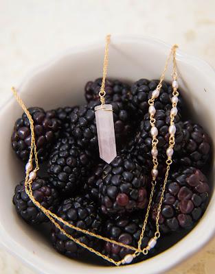 rose pink quartz crystal pendant gold chain agate mauve purple pearls adjustable long necklace millennial pink