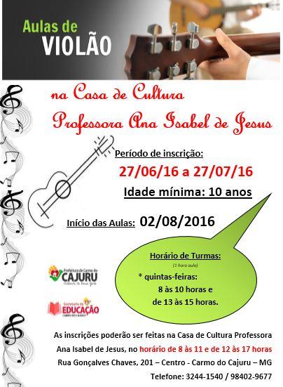 Casa de cultura - aulas de violão