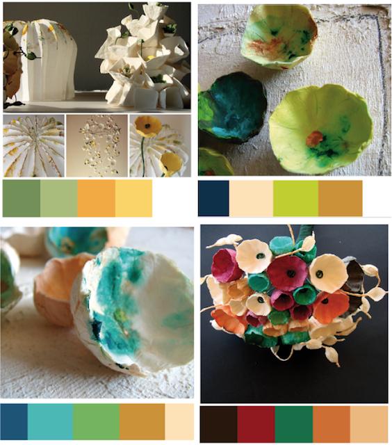 Palette colore matrimonio Green 2018 in Verde , Bouquet di carta Roma