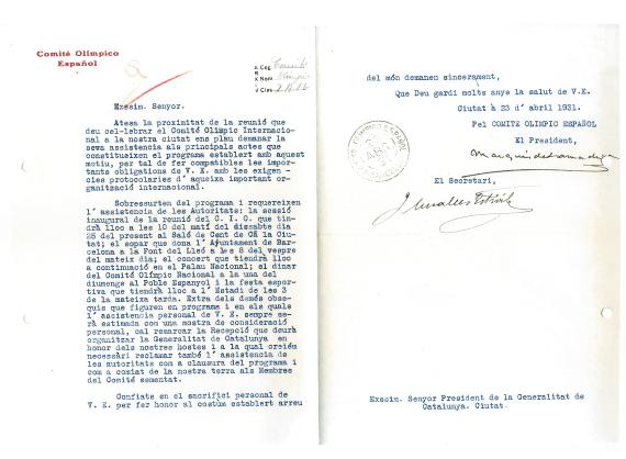 Carta Comité Olímpico Español