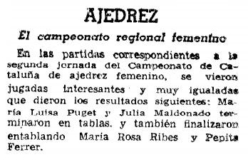 XVI Campeonato Femenino de Catalunya 1959, recorte de La Vanguardia, 22/1/1959