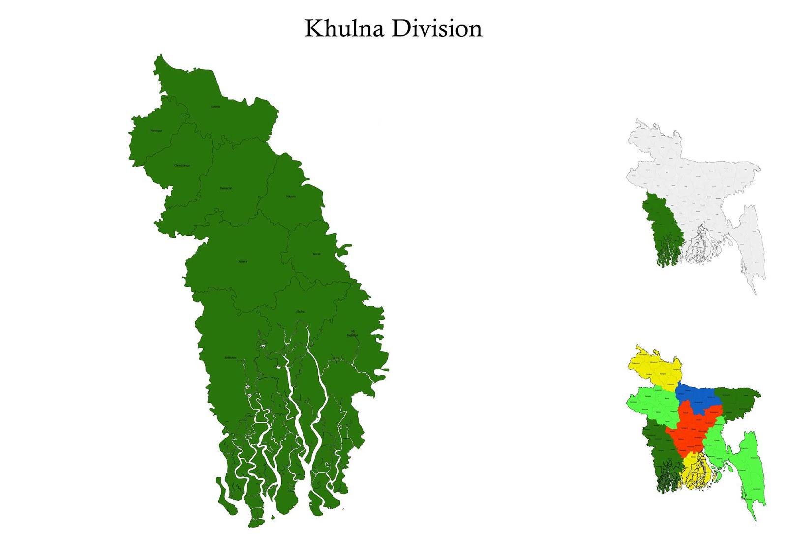 Khulna Division Map Bangladesh