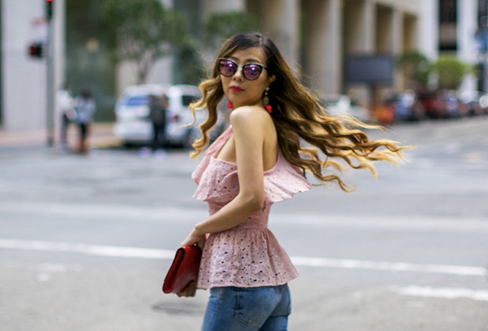 JOA Lace one shoulder peplum top, one shoulder peplum top, blank nyc jeans, valentino rock studs, baublebar tassel earrings, saint laurent clutch, quay sunglasses, spring outfit ideas, date night outfit ideas, san francisco street style, san francisco fashion blog
