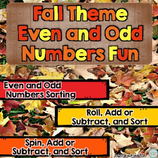Fall, even numbers, odd numbers, second grade, addition, subtraction, math, math stations, fall math