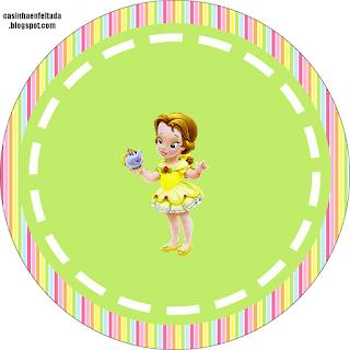 Toppers o Etiquetas de  las Princesas Disney Bebés para imprimir gratis.