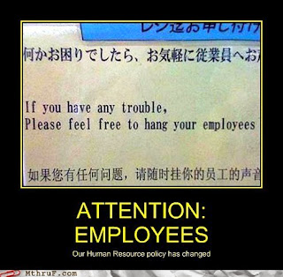 human resources policy funny sign hanging employees