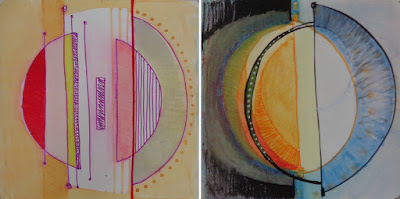 greenbook pages 8-9 circles, painting, drawing, sketchbook, yellow red blue black depth