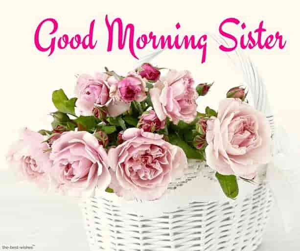 good morning sister with flower basket