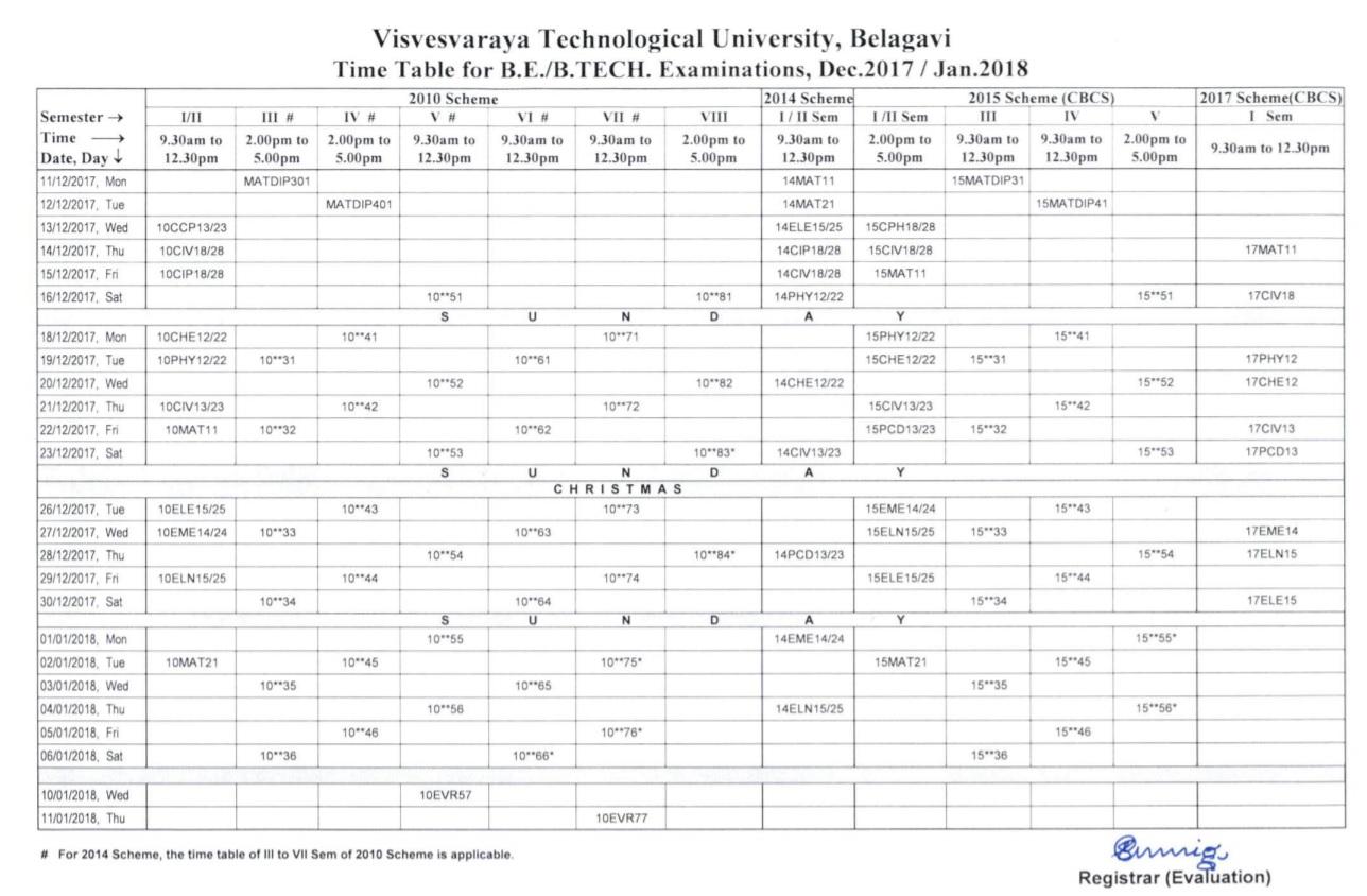 2017 true gift for Vtu 6th sem time table