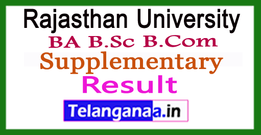 Rajasthan University BA B.Sc B.Com Supplementary Results 2017