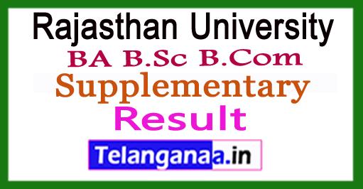 Rajasthan University BA B.Sc B.Com Supplementary Results 2018