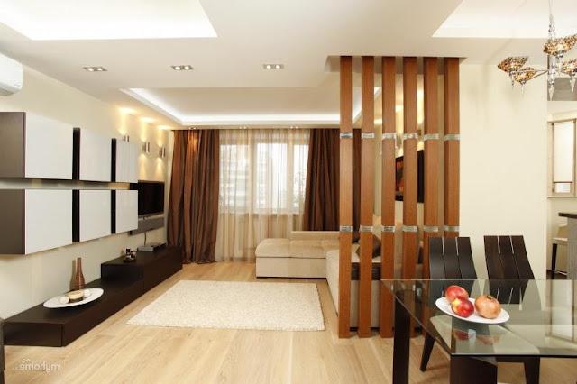 vách ngăn gỗ phòng khách đẹp- mẫu 3