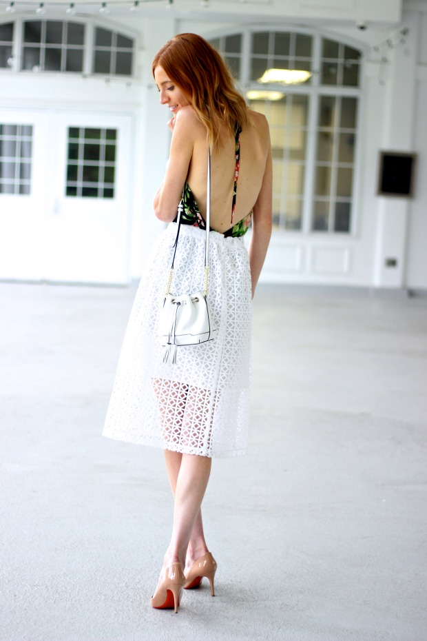 Tropical romper, eyelet skirt, Louboutin Nude Pigalle, Rebecca Minkoff Lexi Bucket bag for Summer style