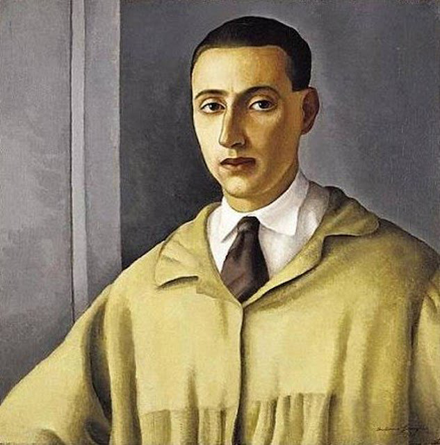 Antonio Donghi, Self Portrait, Portraits of Painters, Fine arts, Portraits of painters blog, Paintings of Antonio Donghi, Painter Antonio Donghi