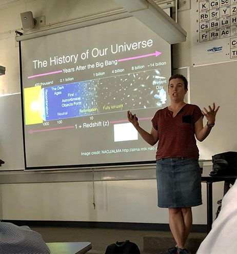 Dr. Abigail Crites, Caltech, describes measurements of the epoch of reionization (Photo: Palmia Observatory)