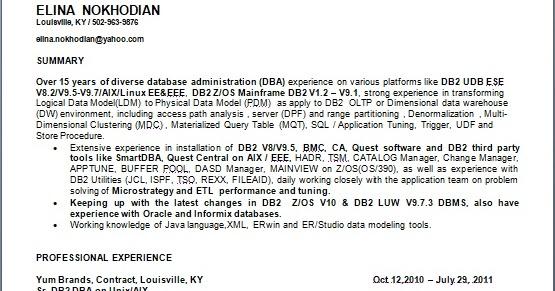 sr  db2 dba on unix sample resume format in word free download