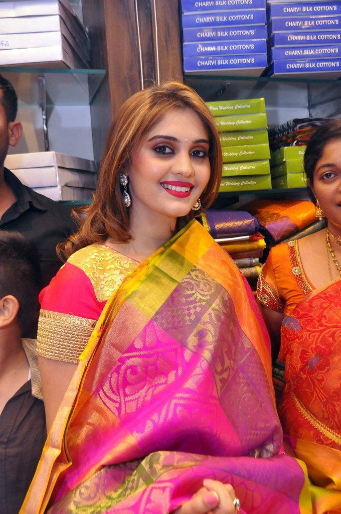 Surabhi Stills In Orange Saree At Fashion Store Launch
