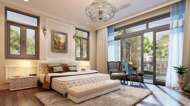 Phòng ngủ BIỆT THỰ LOUIS CITY ĐẠI MỖ nội thất TÂN CỔ ĐIỂN sang trong nhưng rất đỗi ấm cúng với nét truyền thống của các gia đình VIỆT