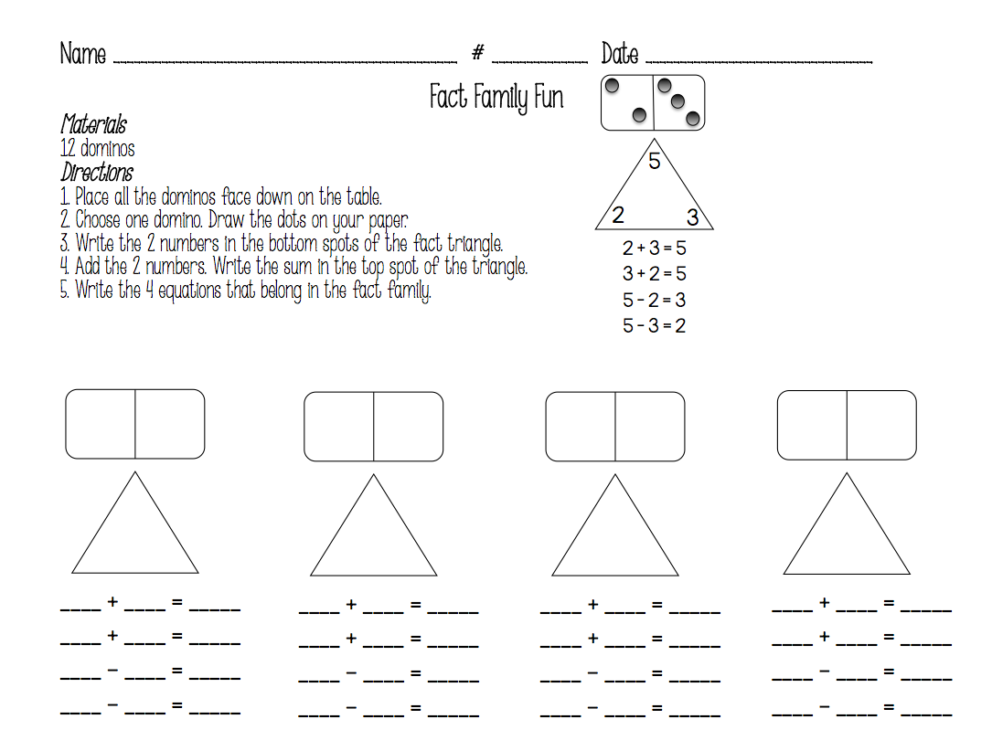 Fact Families Worksheet First Grade
