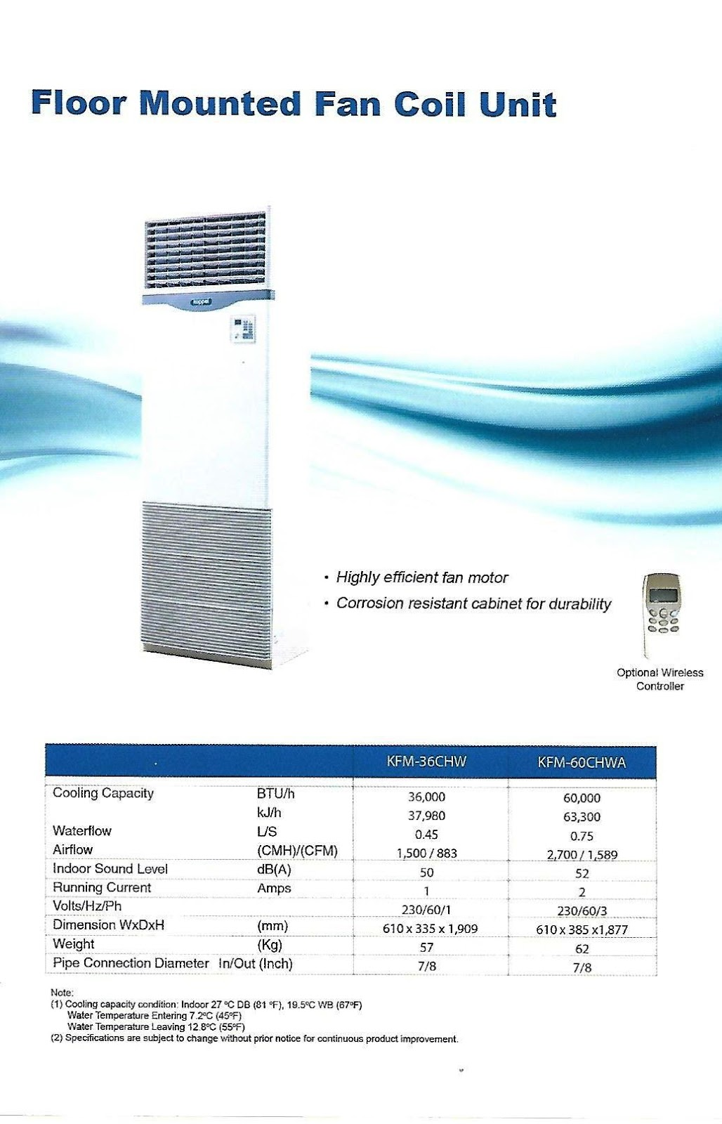 Maximax Systems: KOPPEL FLOOR CHILLED WATER FAN COIL UNIT