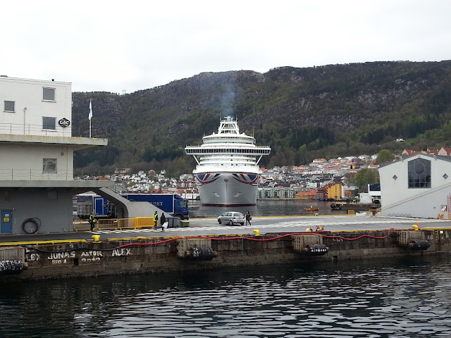 P&O cruise ship Azura in Bergen, Norway during a fjords cruise