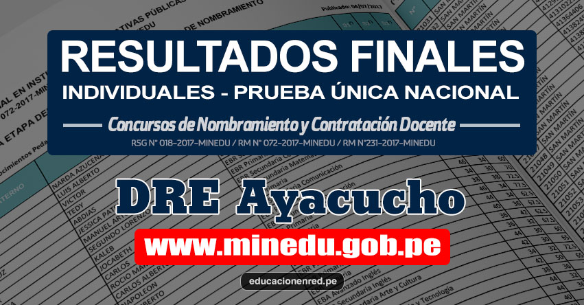 DRE Ayacucho: Resultado Final Individual Prueba Única Nacional y Relación de Postulantes Habilitados para Etapa Descentralizada Nombramiento Docente 2017 - MINEDU - www.dreaya.gob.pe