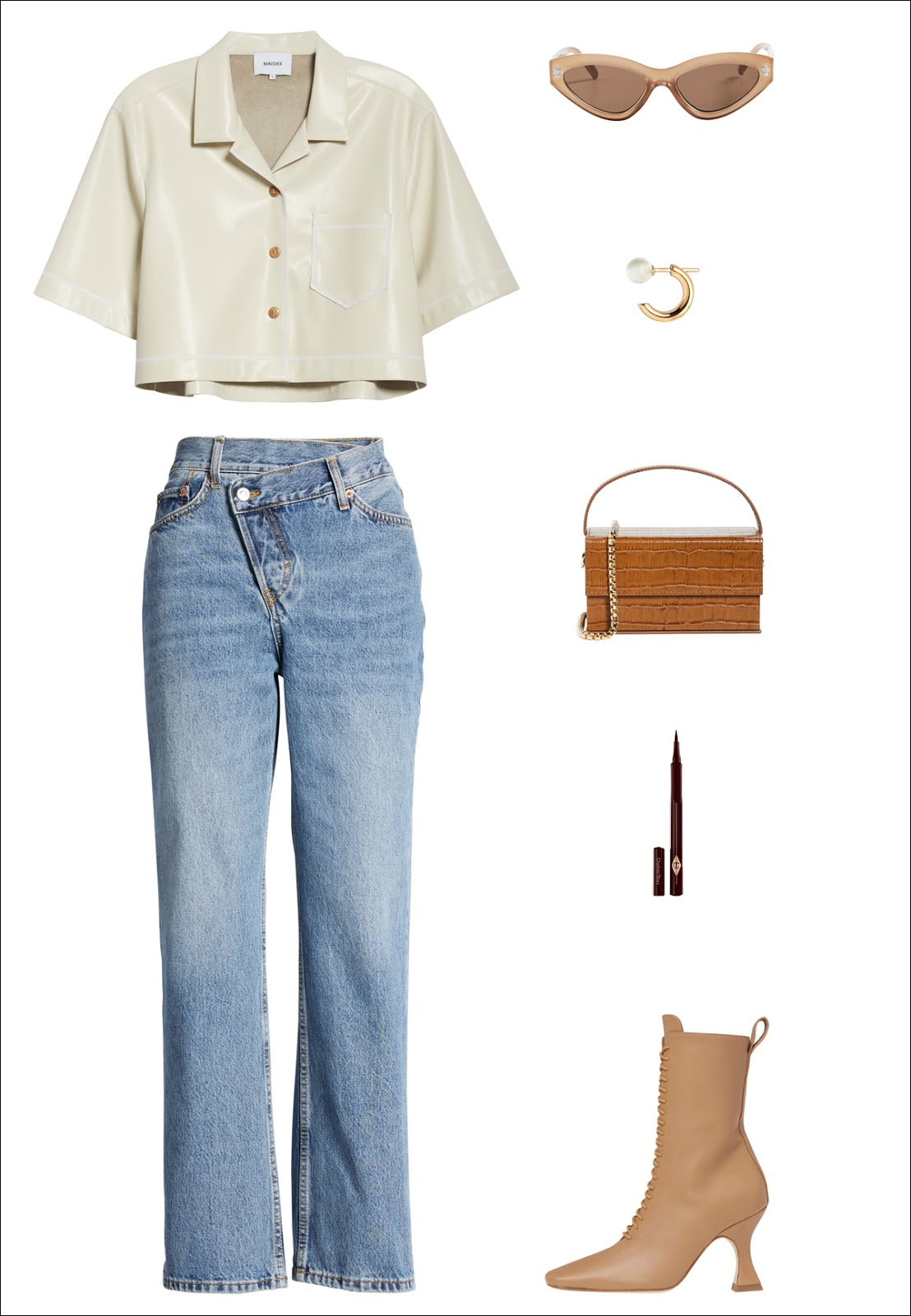 Neutral Spring Outfit Idea: white Nanushka cropped shirt, cat-eye sunglasses, huggie earrings, croc bag, twist wrap jeans, brown eyeliner, and Miista lace-up boots.