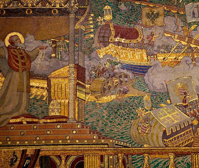 O Papa São Pio V segura o terço enquanto o príncipe Don João de Áustria comanda a batalha de Lepanto- Mosaico na Basílica.de.Notre-Dame.de.Fourvière, Lyon, França.