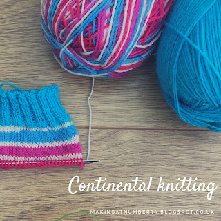 Continental knitting using self striping yarn with contrast cuff