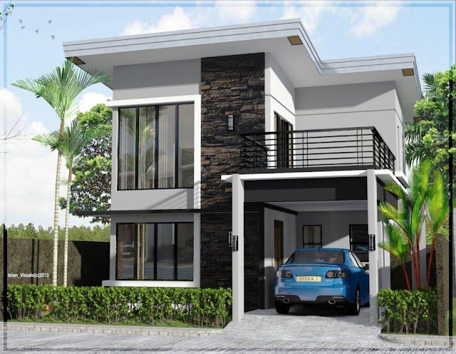 Model Desain Rumah Minimalis 2 Lantai Sederhana Modern Tampak Depan Shreenad Home