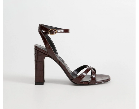 Mango - Sandale negre cu tocul gros si inalt moderne de vara la pret mic