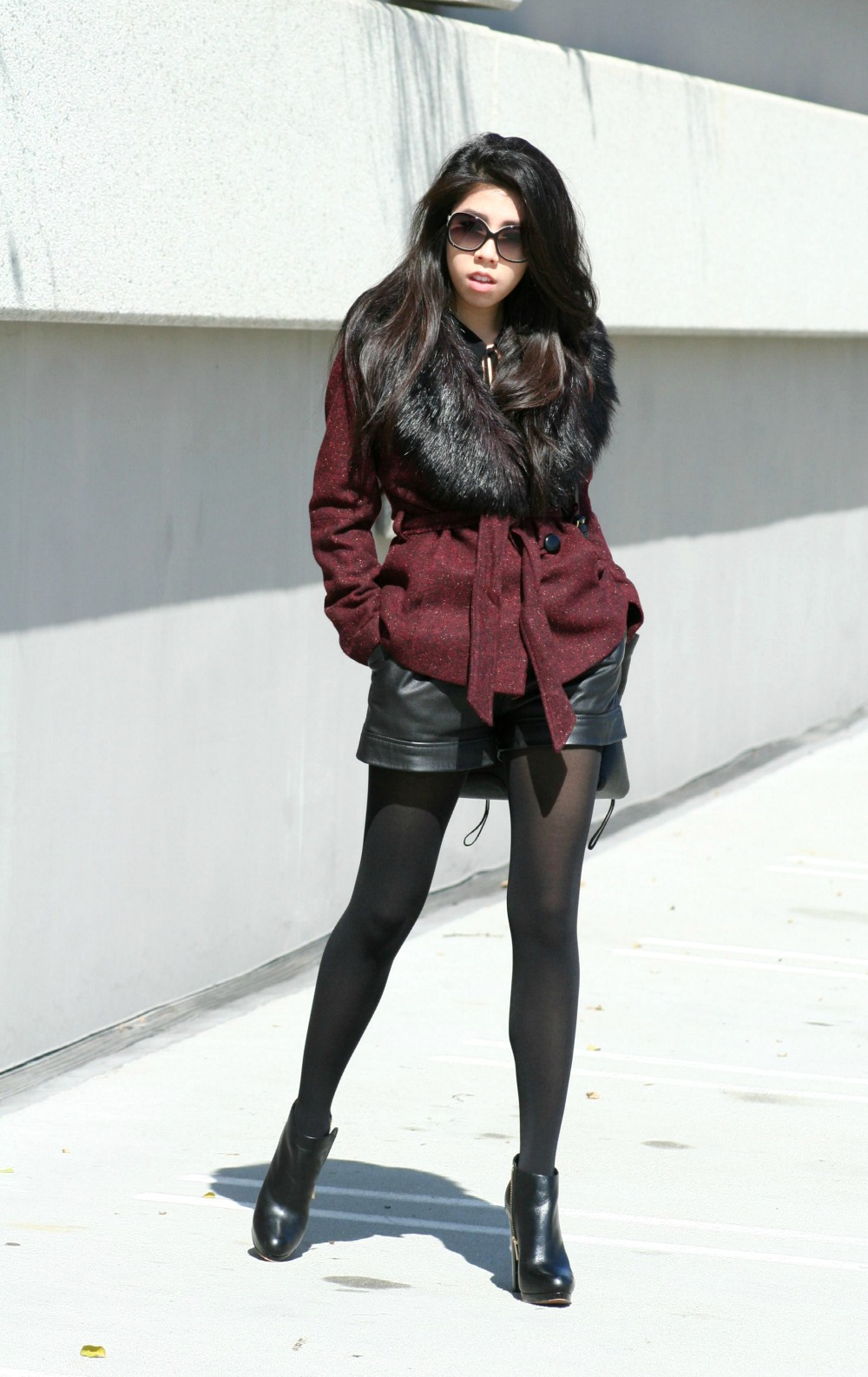 What to Wear with Black Leather Shorts_How to Look Classy in Black Leather Shorts_Shorts and Tights_Fall Fashion_Adrienne Nguyen_Invictus