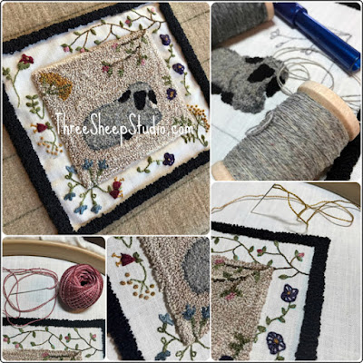 'Spring Lamb' punch needle and hand embroidery by Rose Clay at ThreeSheepStudio.com