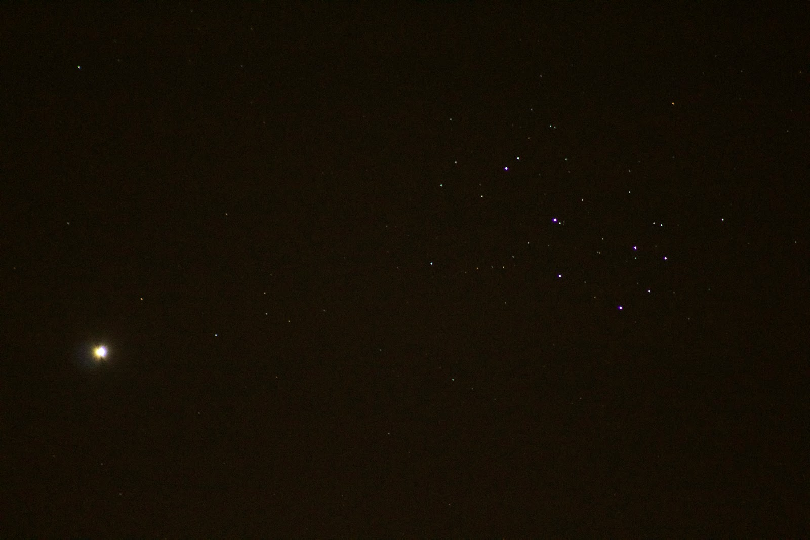 Venus and Pleiades with T5i at 300mm