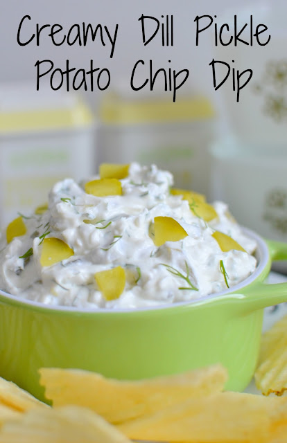Love pickles? This dip is the most delicious party, holiday or game day recipe! Full of creamy, tangy and salty goodness! Creamy Dill Pickle Potato Chip Dip Recipe from Hot Eats and Cool Reads
