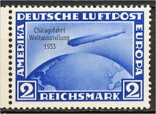 Germany Chicago Fair Zeppelin stamps 2 Mark