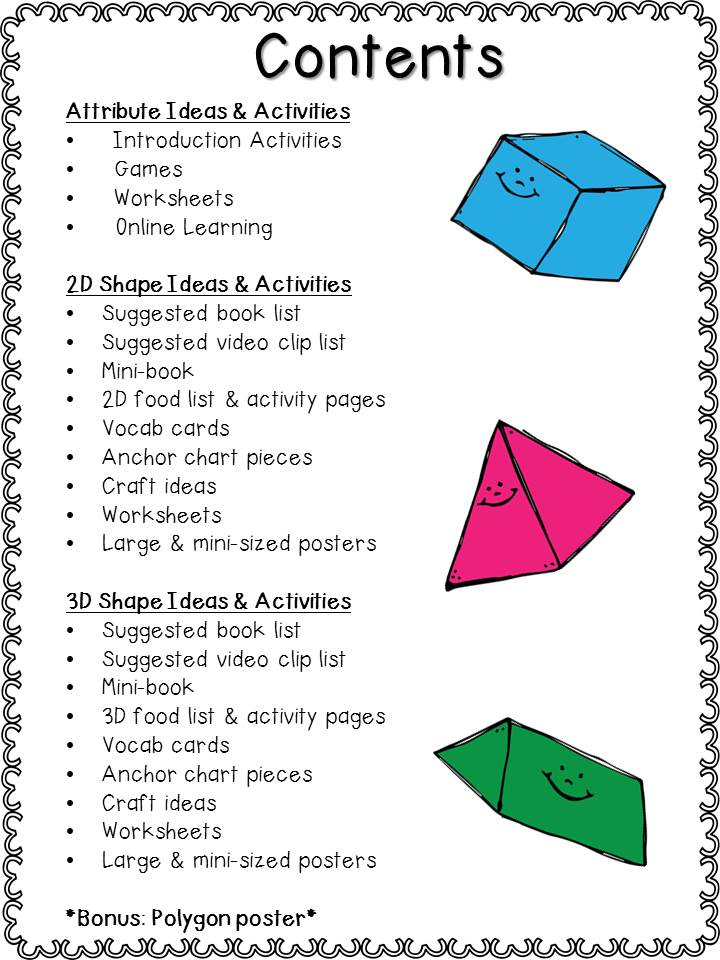 Mrs Wheelers First Grade Tidbits Geometry 2D Shapes