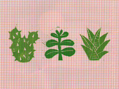 we laugh indoors plant lino print
