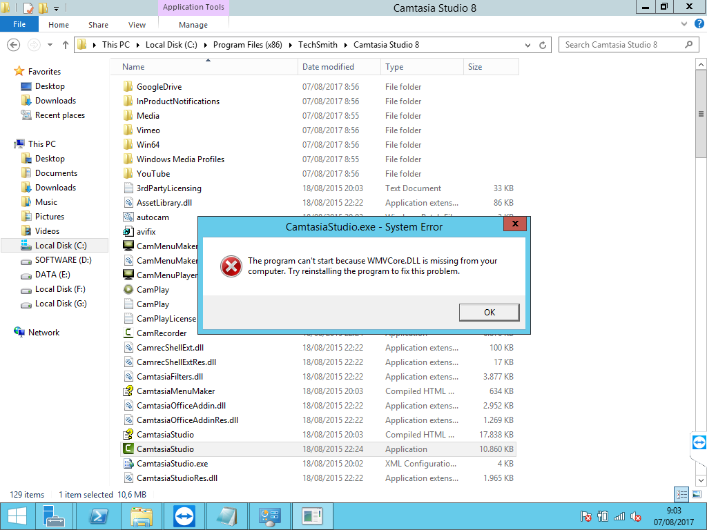 The program can't start because WMVCore.dll is missing ...