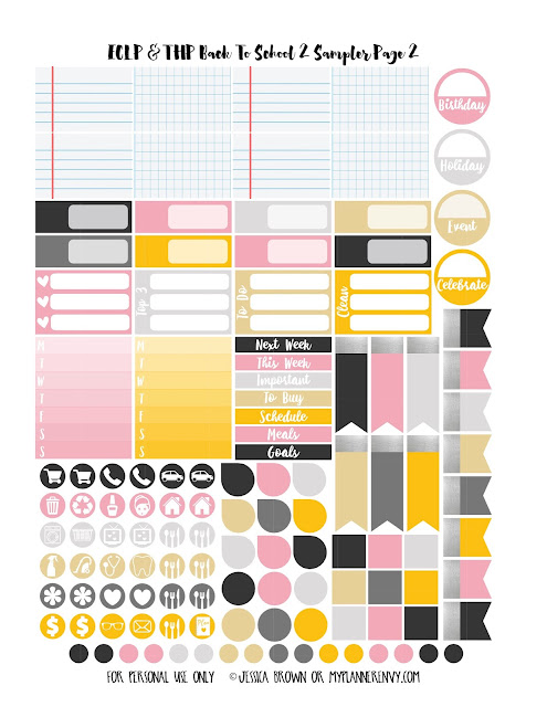 Back To School 2 Sampler Page 2 for the Vertical Erin Condren and the Happy Planner on myplannerenvy.com