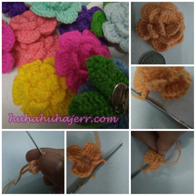 Cara Buat  Bunga Rose Crochet Yang Cantikkk .....
