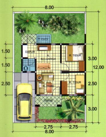 denah rumah minimalis 1 lantai tipe 36 2 kamar tidur